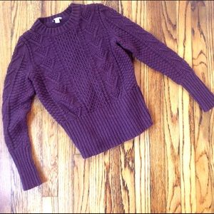 Deep Purple Cable Knit Sweater